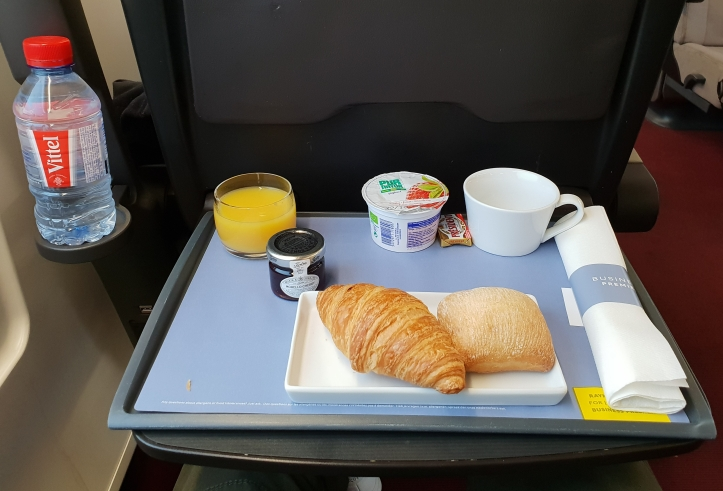 Breakfast tray in Eurostar
