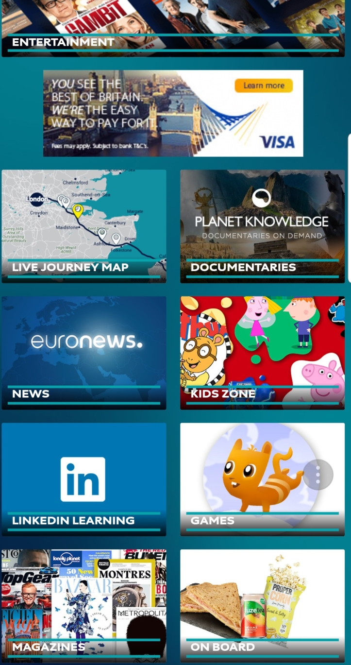 Screenshot of Eurostar on board entertainment